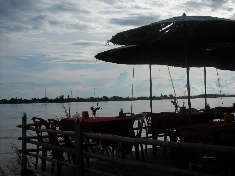 Having a drink on the Mekong River, Laos