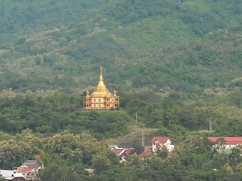 Golden Chedi in the mountains, Laos