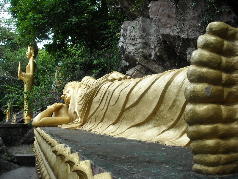 The large reclining Buddha in Luang Prabang, Luang Prabang Laos