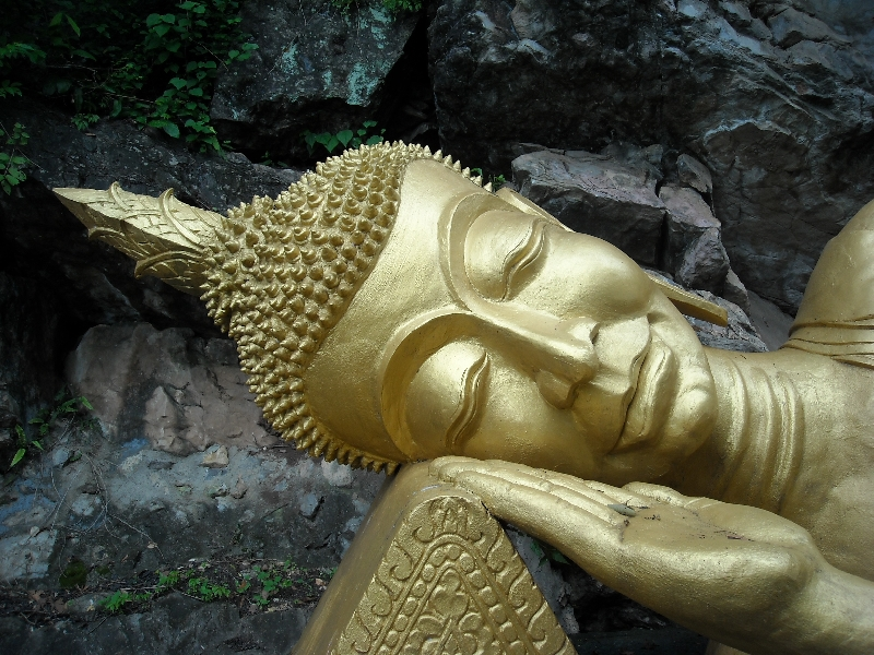 The face of the reclining Buddha, Laos