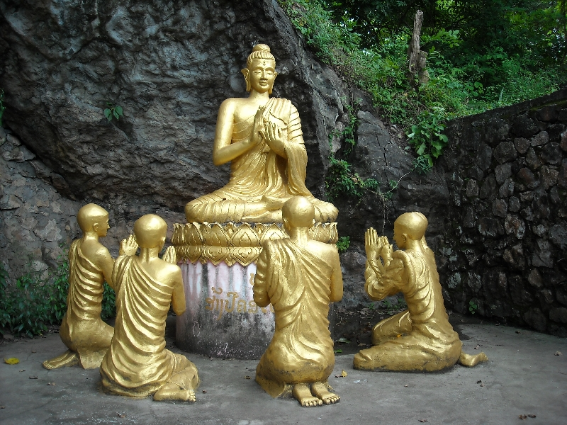 A group of Buddha statues, Laos