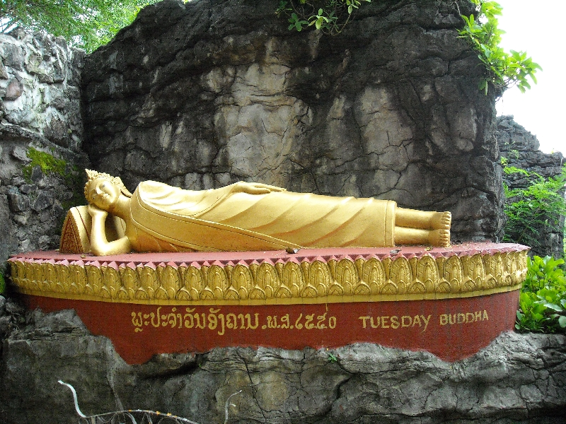 Reclining Golden Buddha in Laos, Luang Prabang Laos