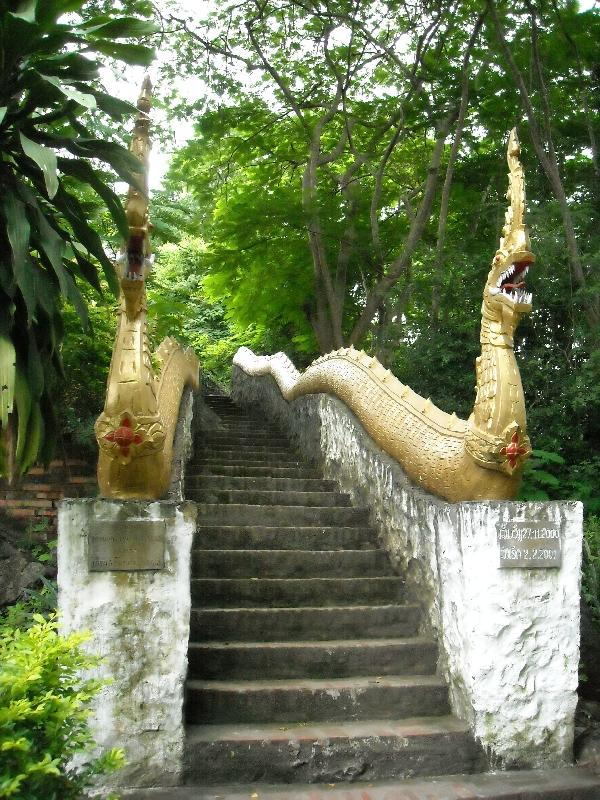 The stairs up Phu Si Hill in Luang Prabang, Laos