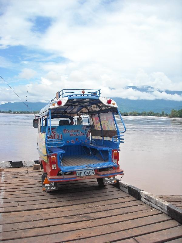 The tuk tuk on the ferry, Preah Vihear Cambodia