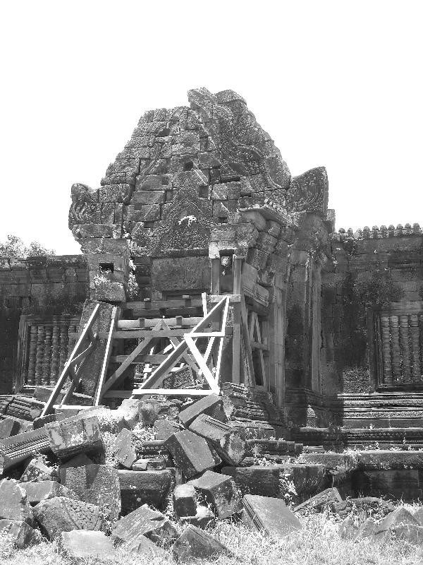Old temple remains put together, Cambodia
