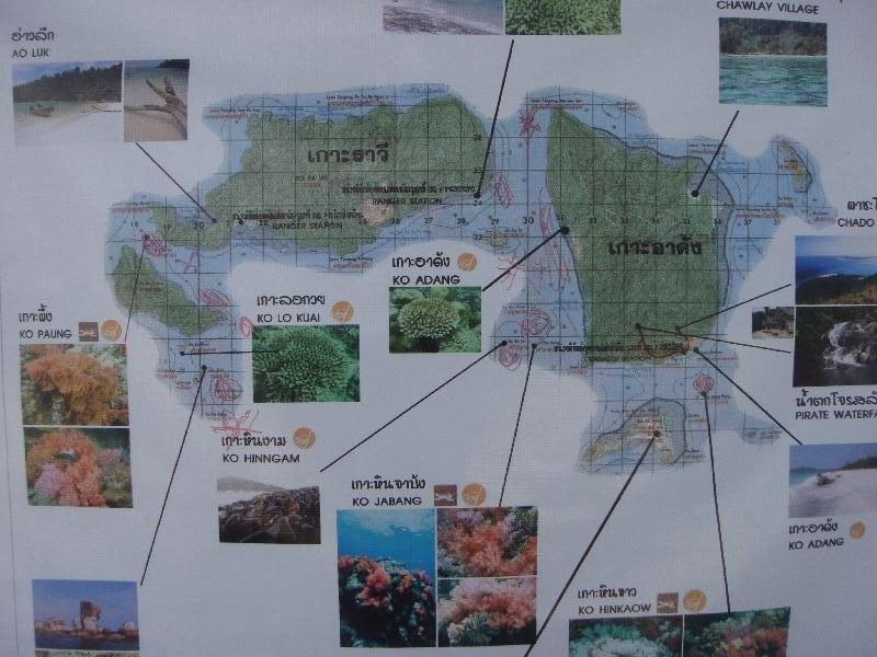 Map of the islands around Ko Lipe, Ko Rawi Thailand