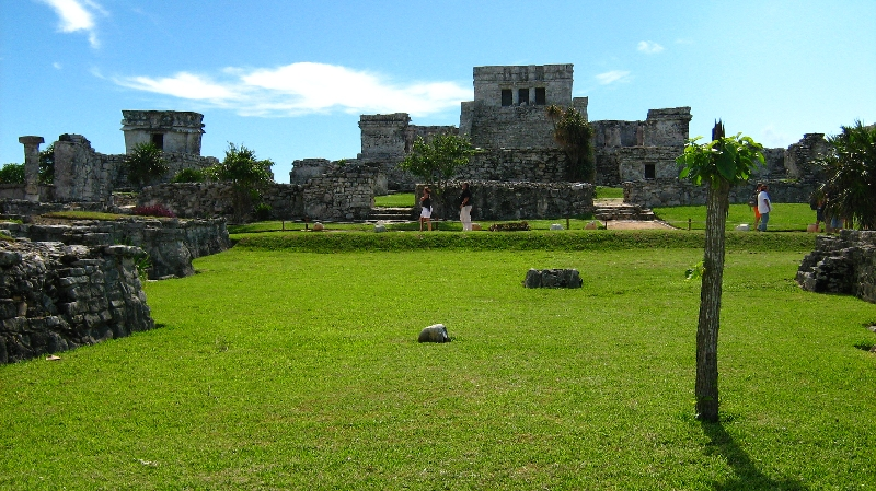 Maya site in the green valley of Tulum, Tulum Mexico