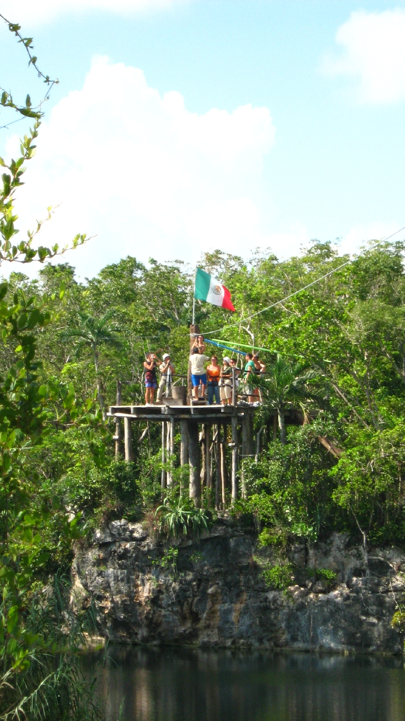 Ziplining over the lagoon, Tulum Mexico