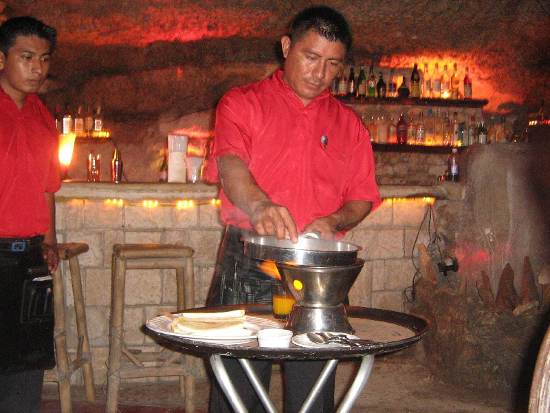 Enjoying a Mexican cave dinner, Mexico