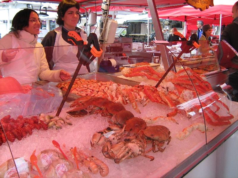 Bergen Norway Seafood stands in Bergen, Norway