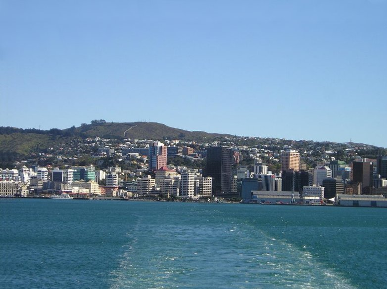 Panoramic view from the ferry, New Zealand