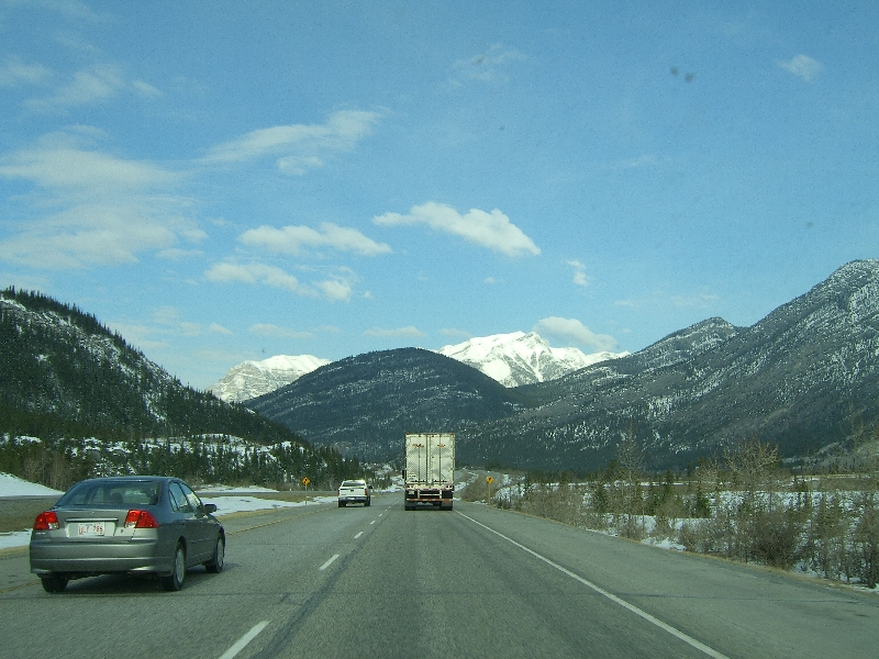 On the road through Banff National Park Calgary