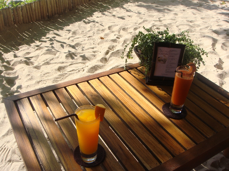 Fruit cocktails on the beach, Railay Beach Thailand