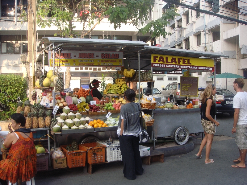 Bangkok Thailand Food stalls on Khao San Road
