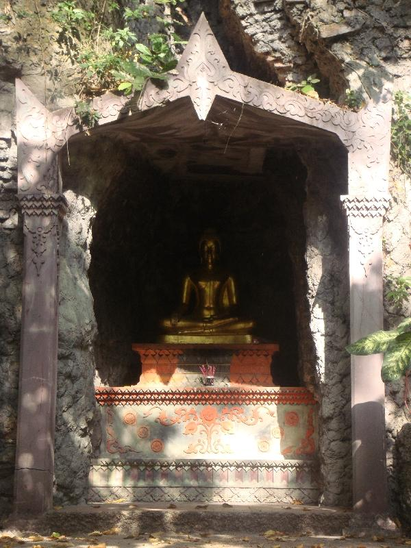 Buddhist altar in the trees, Bangkok Thailand