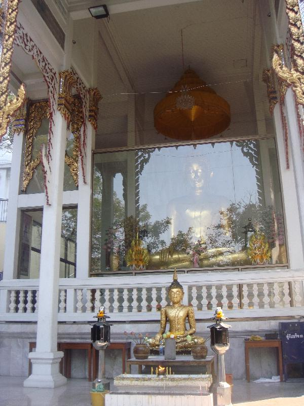 Bangkok Thailand White temple with golden chedi