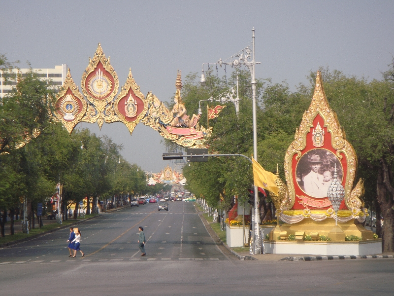 Golden posters of the King, Bangkok Thailand