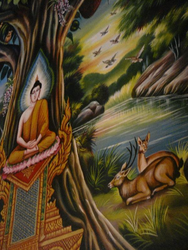 Paintings in smaller sanctuary, Thailand