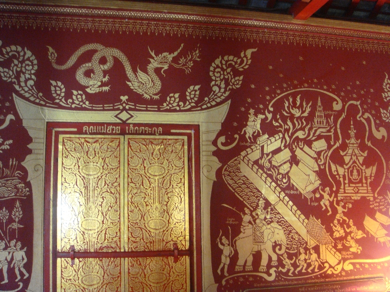 Chiang Mai Thailand Red and Gold mural paintings
