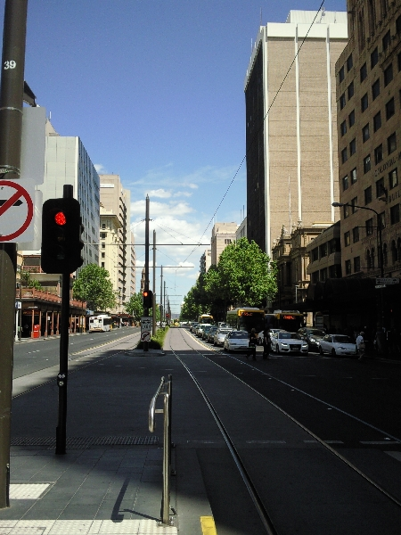 Tram stop in Adelaide, Australia