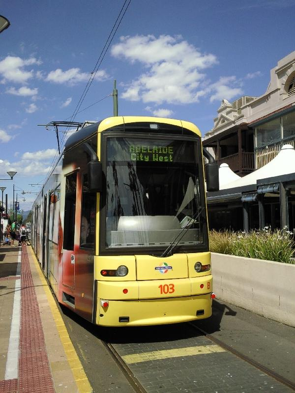 Tram Glenelg Beach to Adelaide, Australia