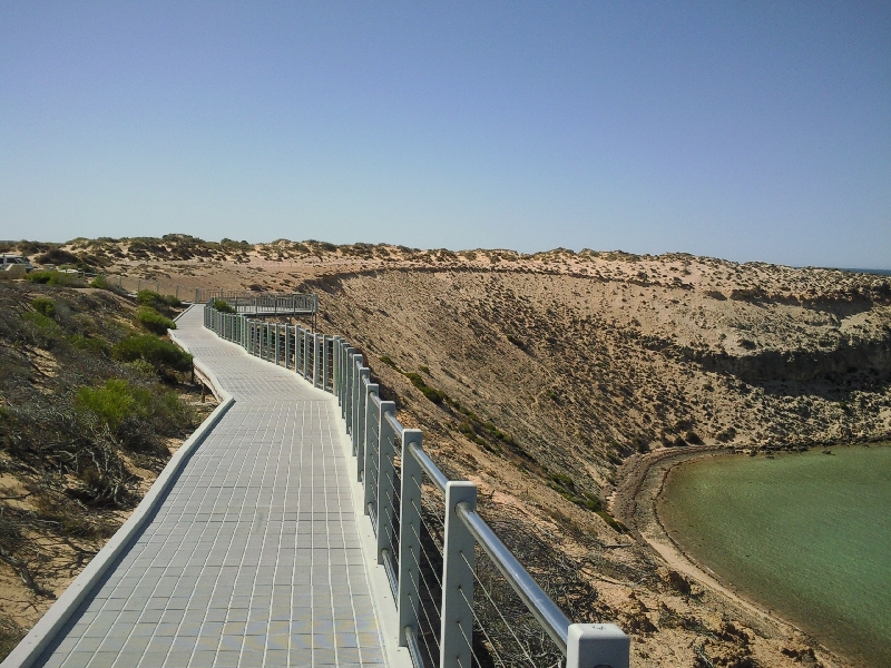Boardwalk around the bay in Eagle Bluff, Shark Bay Australia