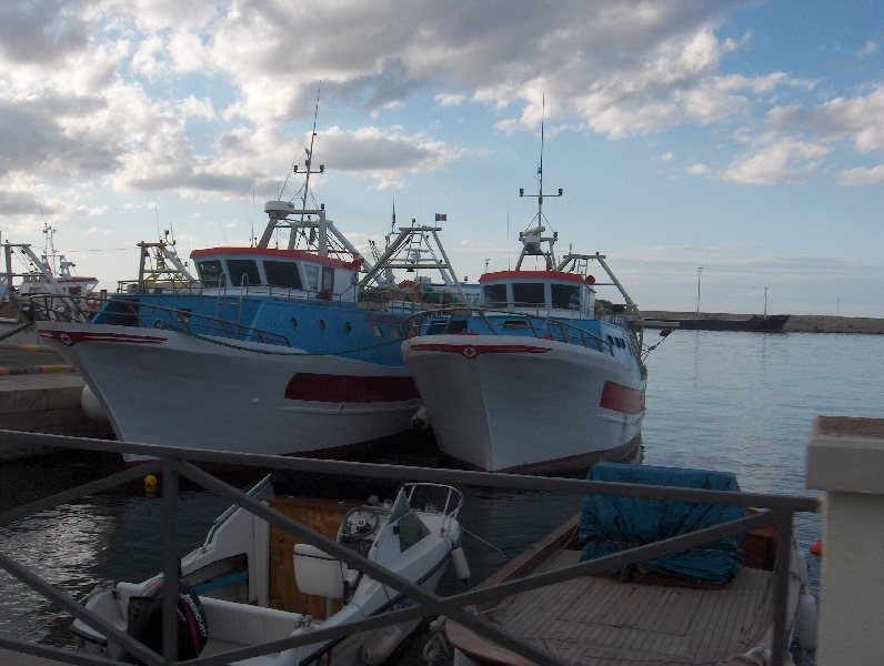 Boats in the harbour of Gallipoli, Italy