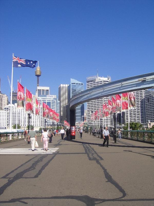 Sydney Australia Walking acrross Pyrmont Bridge