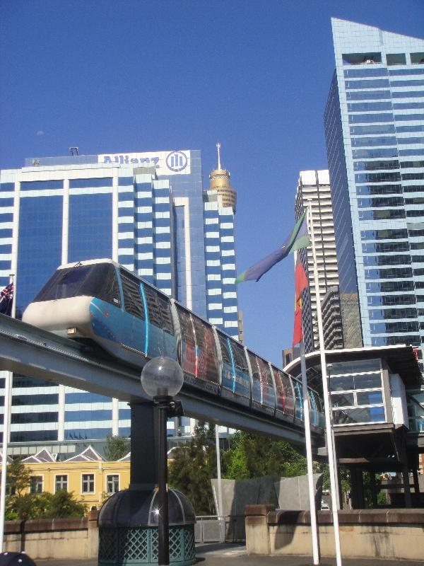 Sky train to Darling Harbour, Sydney Australia