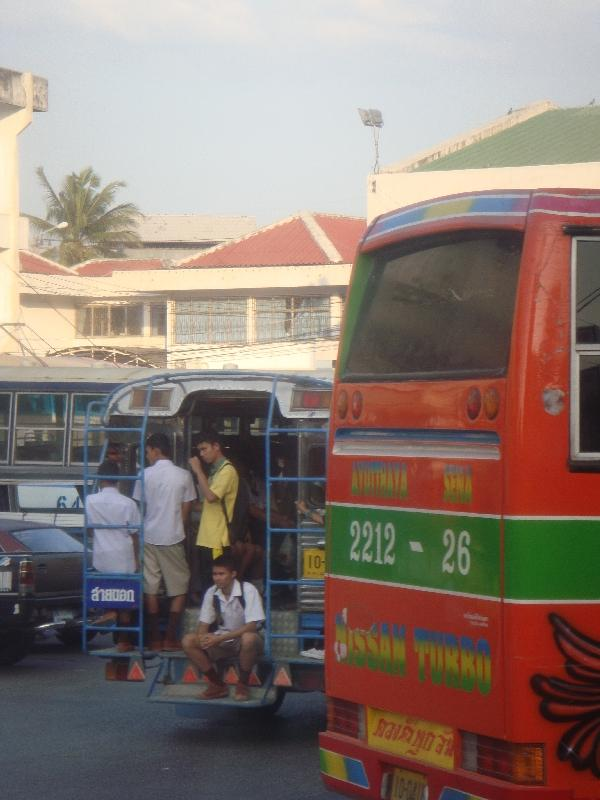 Bus to Ayutthaya at the station , Thailand