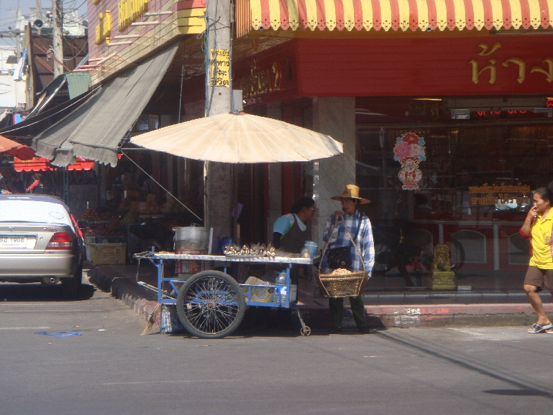 Street vendors in Kanchanaburi, Thailand