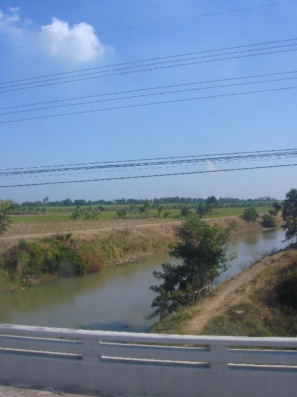 Panoramic picture from the bus, Ayutthaya Thailand