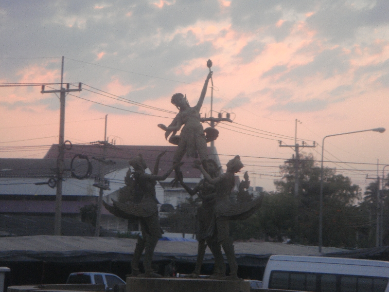 Statues in Ayutthaya at sunset, Thailand
