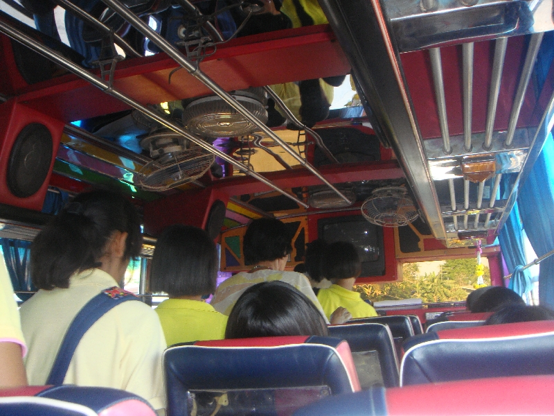 Students on the bus to Ayutthaya, Thailand