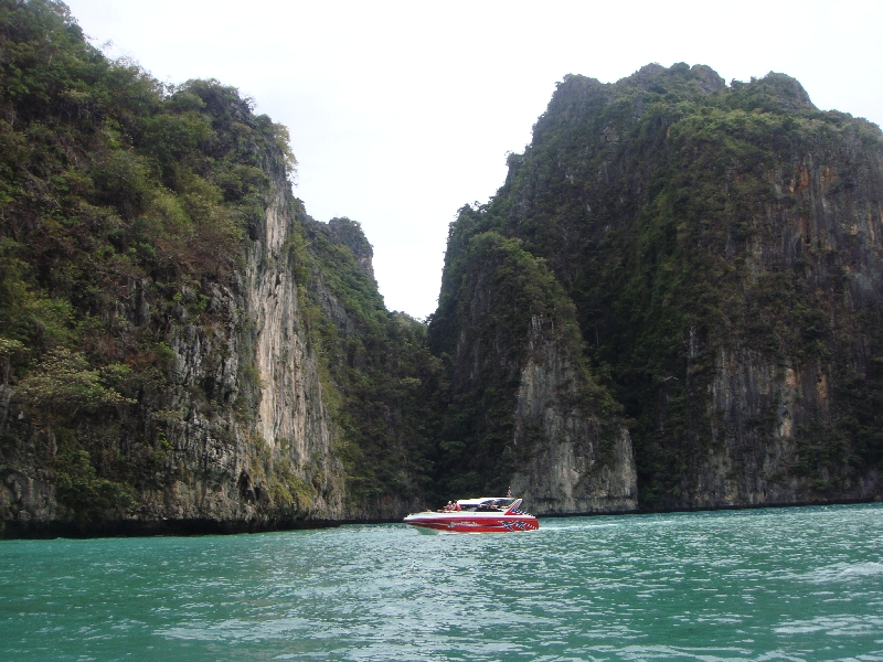 Entering Maya Bay by longtail boat, Ko Phi Phi Don Thailand