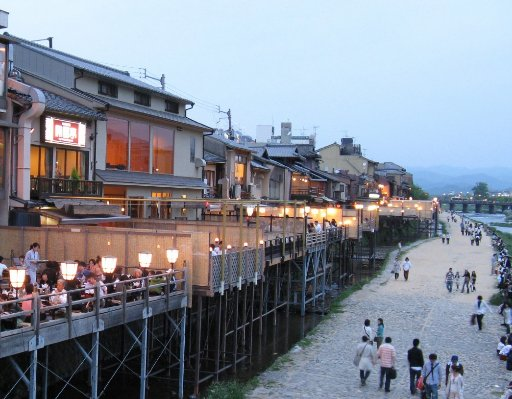 Restaurants in Kyoto on the Kamo River, Japan