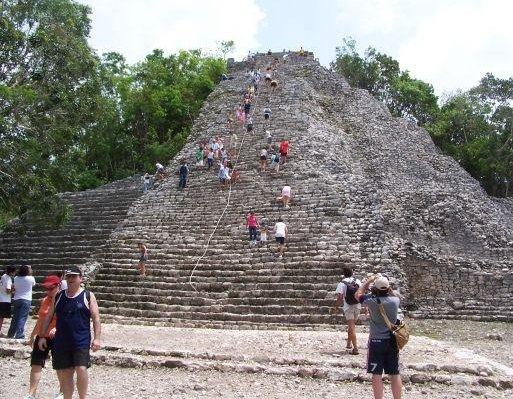 Climbing the Maya pyramids, Yucatan Mexico