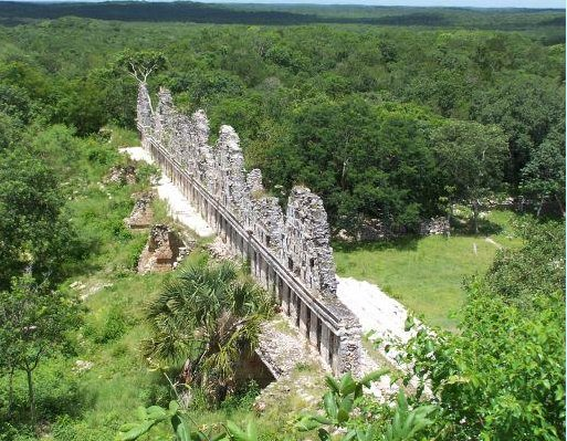 Beautiful temple remains in the forest, Mexico