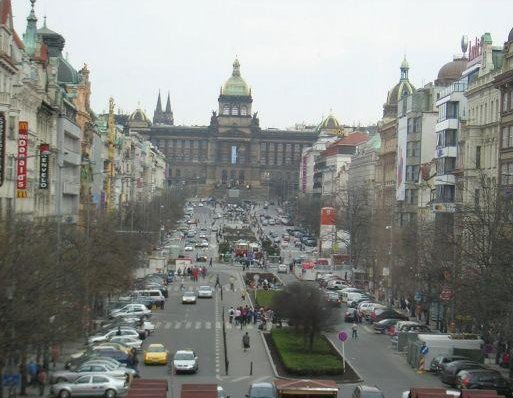 Prague Czech Republic Busy Street Wenceslas Square, Prague