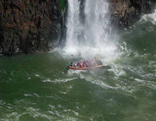 Wild water rafting at the Iguazu Waterfalls, Brazil