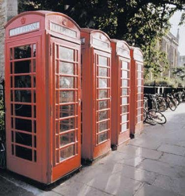 Classical red telephone booths in London., United Kingdom