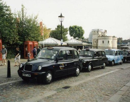 Photos of classic London style cabs., United Kingdom