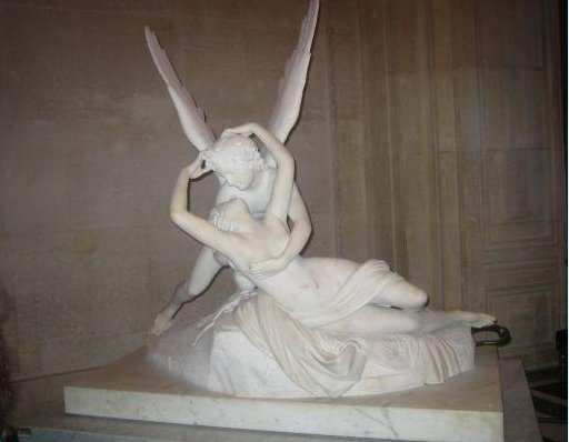 Lovers Embrace statue in Paris, Louvre., France