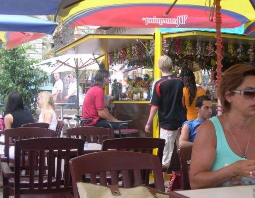 One of the many beach bars., Lloret de Mar Spain