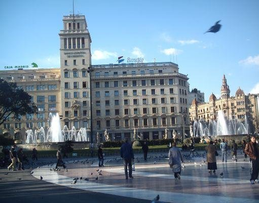 Plaza Catalunya in Barcelona, Spain., Barcelona Spain