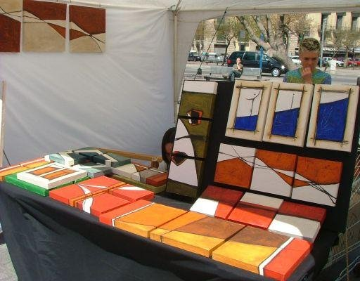 Local artists selling their art work in Barcelona., Spain