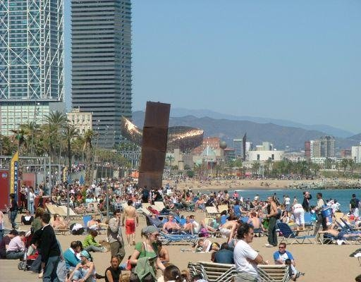 The beach of Barcelona in April., Spain