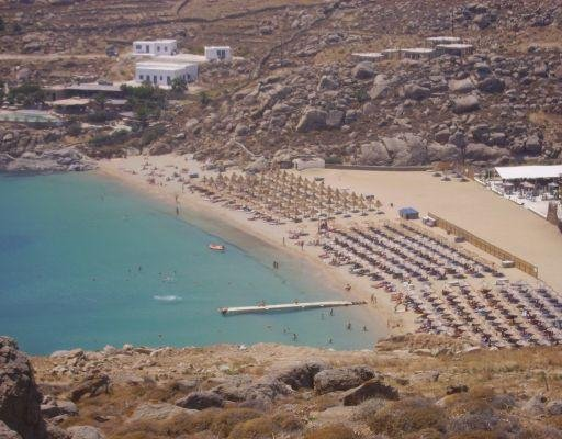 Looking down on Super Paradise beach. Mykonos Greece Europe