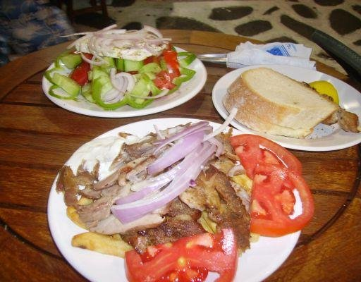 Greek food on Mykonos, Greece., Mykonos Greece
