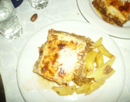The traditional Greek Moussaka., Mykonos Greece